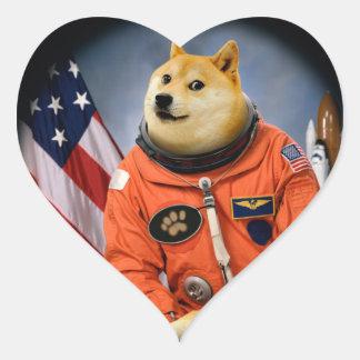 astronaut dog  - doge - shibe - doge memes heart sticker