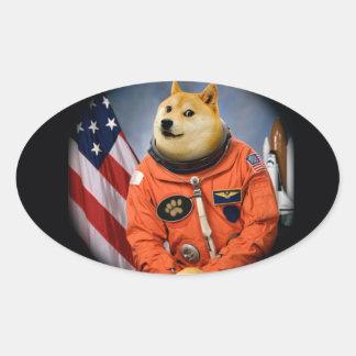 astronaut dog  - doge - shibe - doge memes oval sticker
