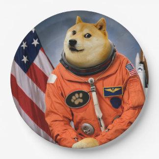 astronaut dog  - doge - shibe - doge memes paper plate