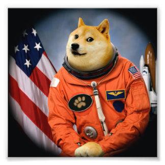 astronaut dog  - doge - shibe - doge memes photo print