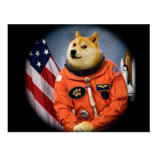 astronaut dog  - doge - shibe - doge memes postcard