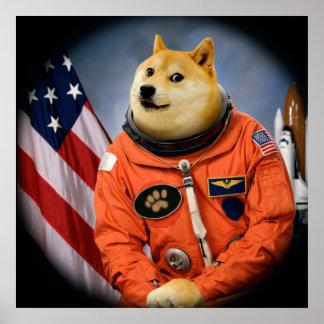 astronaut dog  - doge - shibe - doge memes poster