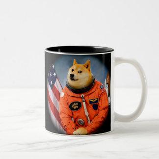 astronaut dog  - doge - shibe - doge memes Two-Tone coffee mug