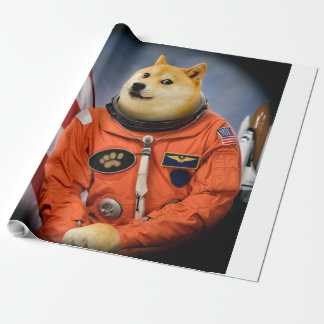 astronaut dog  - doge - shibe - doge memes wrapping paper