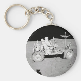 Astronaut driving Lunar Lander on the Moon Keychain