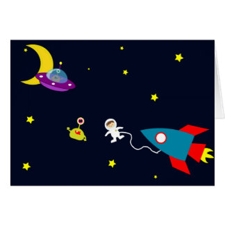 Astronaut Encounters Aliens in Space Card