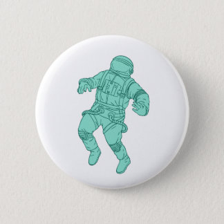 Astronaut Floating in Space Drawing 2 Inch Round Button