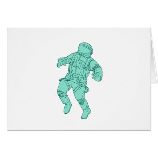 Astronaut Floating in Space Drawing Card