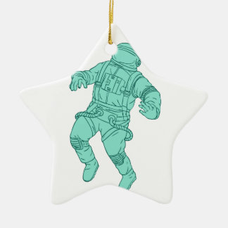 Astronaut Floating in Space Drawing Ceramic Ornament
