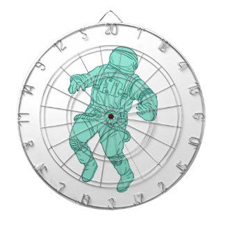 Astronaut Floating in Space Drawing Dartboard