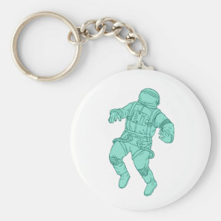 Astronaut Floating in Space Drawing Keychain