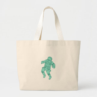 Astronaut Floating in Space Drawing Large Tote Bag