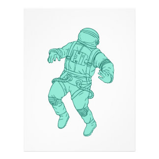 Astronaut Floating in Space Drawing Letterhead
