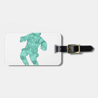 Astronaut Floating in Space Drawing Luggage Tag