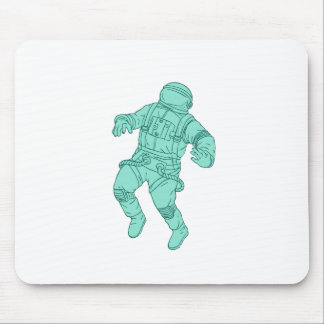 Astronaut Floating in Space Drawing Mouse Pad
