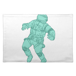 Astronaut Floating in Space Drawing Placemat