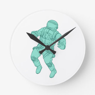 Astronaut Floating in Space Drawing Round Clock