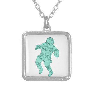 Astronaut Floating in Space Drawing Silver Plated Necklace