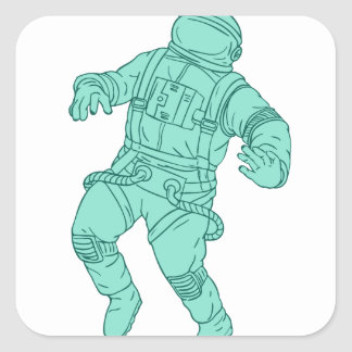 Astronaut Floating in Space Drawing Square Sticker