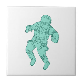 Astronaut Floating in Space Drawing Tile