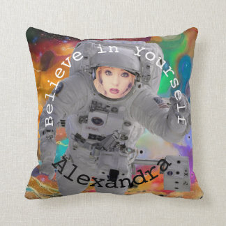 Astronaut Frame Cosmic Galaxy Personalized Throw Pillow