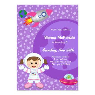 Astronaut girl Birthday theme Card