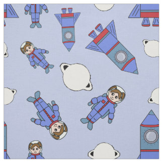 Astronaut Girl in Space Blue and Red Fabric