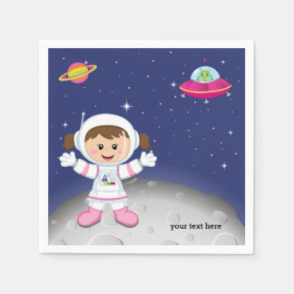 Astronaut girl paper napkins