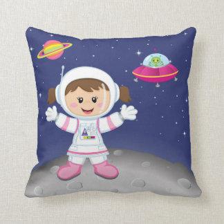 Astronaut girl throw pillow
