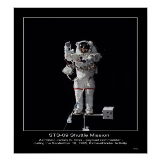 Astronaut James S. Voss Outer Space Walk Poster