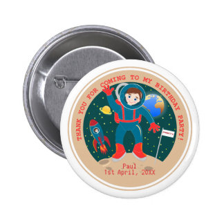 Astronaut kid birthday party 2 inch round button
