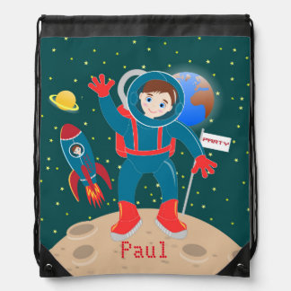Astronaut kid birthday party drawstring backpack