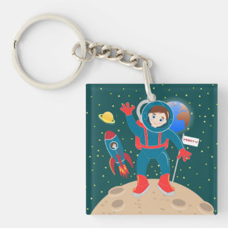 Astronaut kid birthday party Double-Sided square acrylic keychain