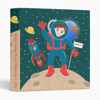 Astronaut kid birthday party vinyl binder
