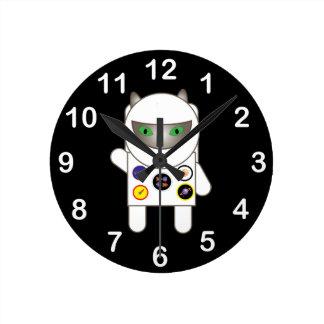 Astronaut Kitty Round Clock