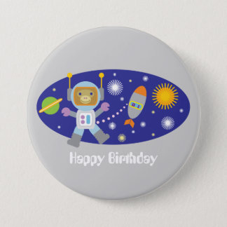 Astronaut Monkey Space Chimp Happy Birthday Party 3 Inch Round Button