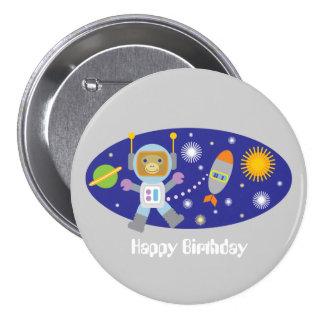 Astronaut Monkey Space Chimp Happy Birthday Party 3 Inch Round Button
