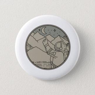 Astronaut Moon Stars Circle Mono Line 2 Inch Round Button