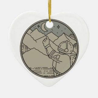 Astronaut Moon Stars Circle Mono Line Ceramic Ornament
