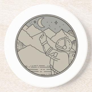 Astronaut Moon Stars Circle Mono Line Coaster