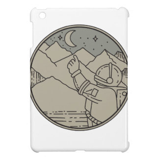 Astronaut Moon Stars Circle Mono Line iPad Mini Cases