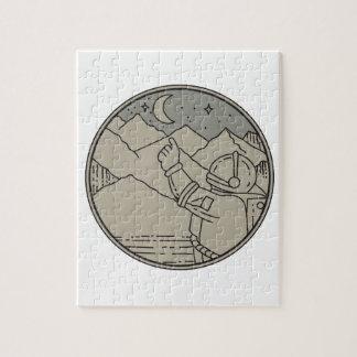 Astronaut Moon Stars Circle Mono Line Jigsaw Puzzle