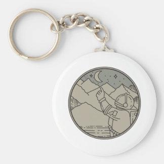 Astronaut Moon Stars Circle Mono Line Keychain