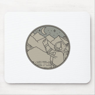 Astronaut Moon Stars Circle Mono Line Mouse Pad