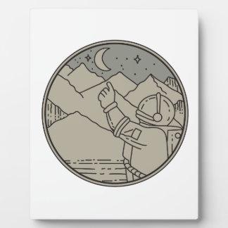 Astronaut Moon Stars Circle Mono Line Plaque