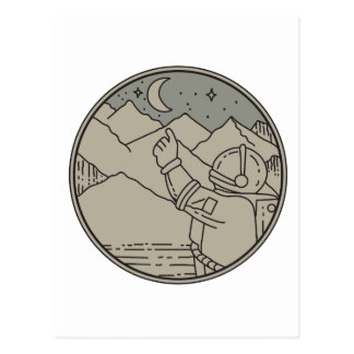 Astronaut Moon Stars Circle Mono Line Postcard