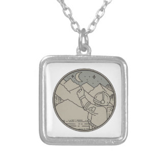 Astronaut Moon Stars Circle Mono Line Silver Plated Necklace