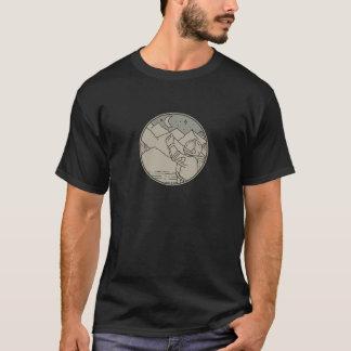 Astronaut Moon Stars Circle Mono Line T-Shirt