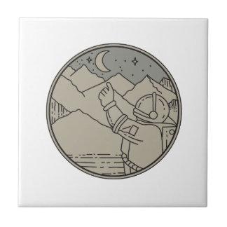 Astronaut Moon Stars Circle Mono Line Tile