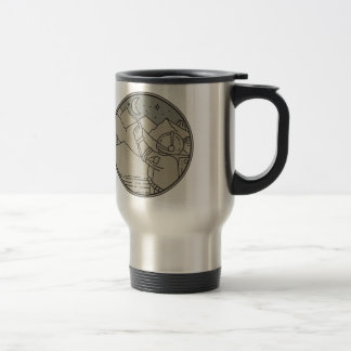 Astronaut Moon Stars Circle Mono Line Travel Mug